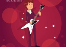 Free vector Bokeh background with guitarist boy #1885