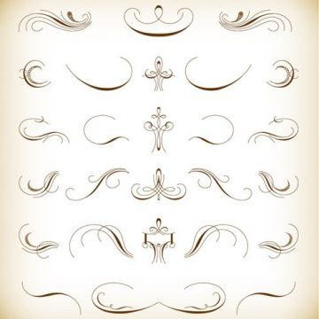 Free vector Calligraphic Floral Design Elements Vector Set #2856