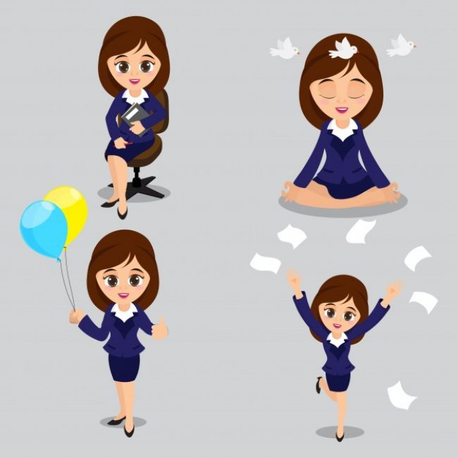 Free vector  Cartoon illustration of Young Business Women in four different poses #1753