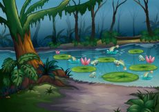 Free vector Cartoon natural landscape Vector Backgrounds #16
