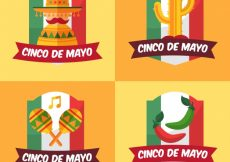 Free vector Cinco de mayo labels with mexican flag and decorative elements #356