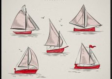 Free vector Collection of boats in vintage style #1348