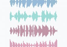 Free vector Collection of colored sound waves made of lines #2131