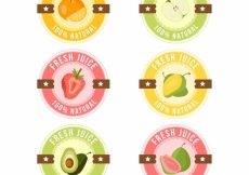 Free vector Collection of fresh juice stickers in pastel colors #3366