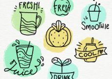 Free vector Collection of fruit juice badges in hand-drawn style #2416