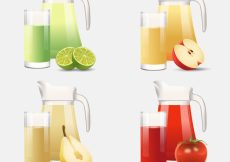 Free vector Collection of realistic jars and glasses with fruit juices #3068
