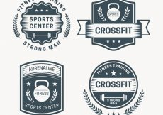 Free vector Collection of vintage corssfit stickers #324