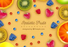 Free vector Colored background of fruits in realistic design #1374