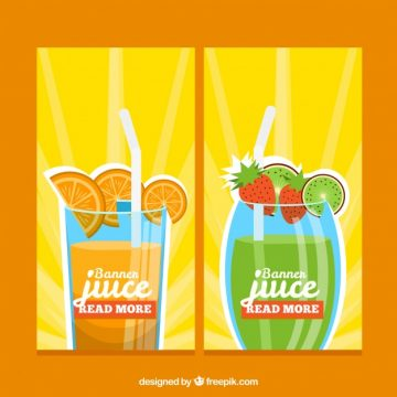 Free vector Colored fruit juice banners #2461