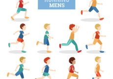Free vector Colored set of men running #74