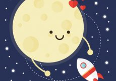 Free vector Cute background of happy moon with rocket #2670
