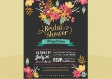 Free vector Dark bridal shower invitation with colored flowers #1318