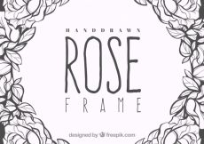 Free vector Decorative frame of hand-drawn roses #184