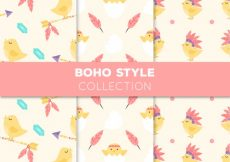 Free vector Fantastic boho patterns with cute chick #2515