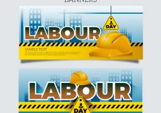 Free vector Fantastic labour day banners with yellow helmets #798