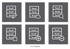 Free vector File Cabinet Icon Set #3425