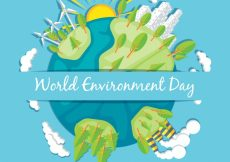 Free vector Flat background with earth and trees for world environment day #1616