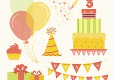 Free vector Flat collection of colored birthday elements #1917