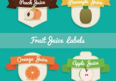 Free vector Flat set of fruit juice labels with ribbons #3369