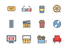 Free vector Free Cinema Icons Line Style Vector #1291