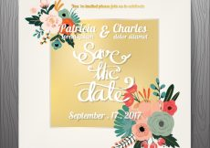 Free vector Golden wedding invitation with flowers #3179