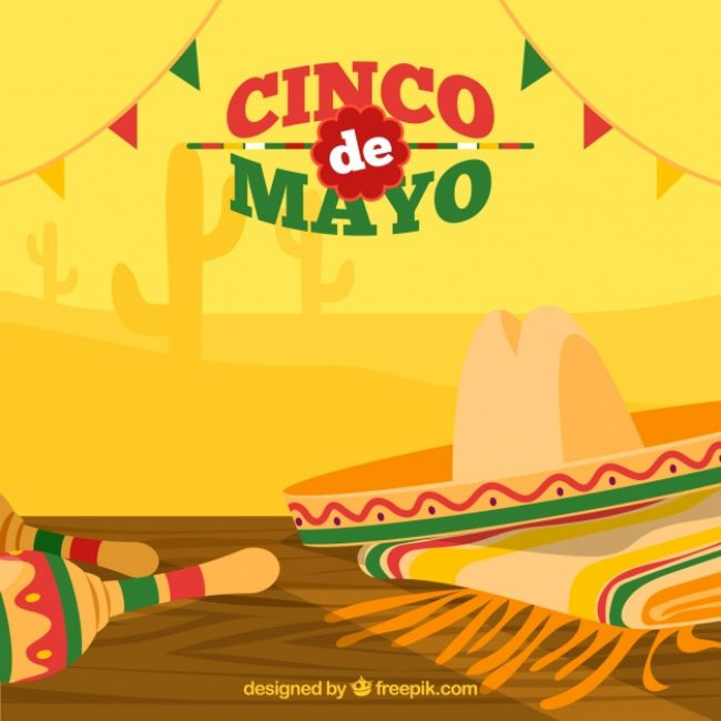 Free vector Great background with hat and maracas for cinco de mayo #538