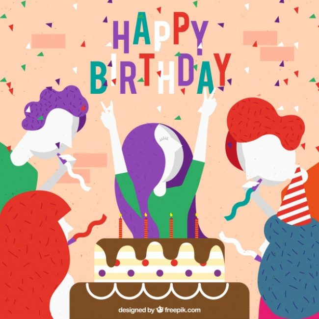 Free vector Great birthday background with happy people #1550