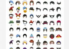 Free vector Hairstyle collection flat design #2662