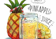 Free vector Hand-drawn background of pineapple juice #3605