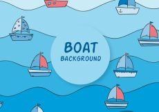 Free vector Hand-drawn background with waves and boats #1356