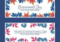 Free vector Hand-drawn banners with colored leaves for world environment day #1620
