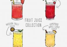 Free vector Hand-drawn collection of four fruit juices #3504