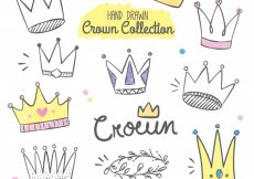 Free vector Hand-drawn collection of funny crowns #814