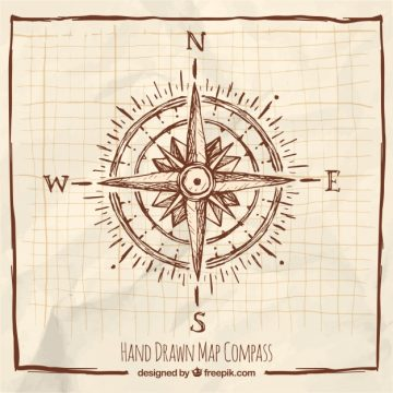 Free vector Hand drawn compass with frame #1252