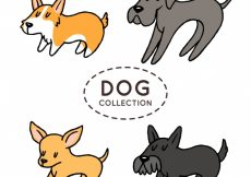 Free vector Hand-drawn pack of four dogs #380
