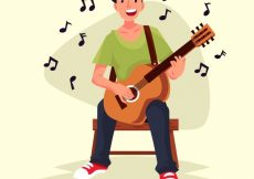 Free vector Happy boy playing the guitar #1911