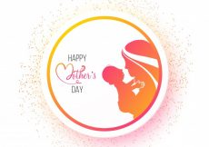 Free vector  Happy Mother's Day sticker, tag or label design with silhouette of mother loving her baby #1132