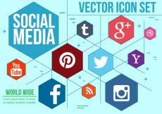 Free vector Hexagonal Social Icons Vector #731