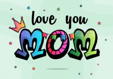 Free vector  Love You Mom typographical background for Happy Mother's Day celebration #590