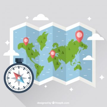 Free vector Map with compass design #1272