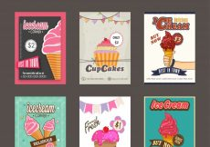 Free vector  Mega collection of Sweet Food flyers, template, or price card design with illustration of delicious ice cream and cupcake #542
