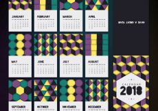 Free vector Modern 2018 calendar with geometric shapes #1688