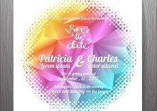 Free vector Multicolor wedding invitation with rounded shape #3206