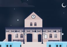 Free vector Night background with train station #3238