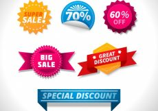 Free vector Pack of colored labels with special discounts #2852