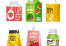 Free vector Pack of containers with fruit juice #3507