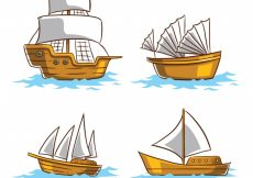 Free vector Pack of four wooden boats with white sails #1336