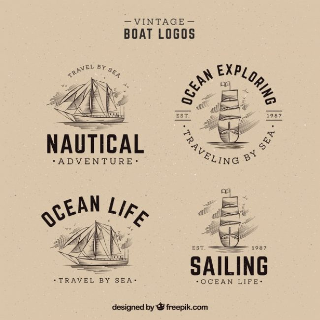 Free vector Pack of hand drawn boat logos in vintage  #1034