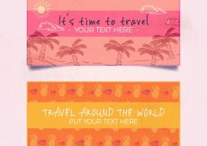 Free vector Pink and orange travel banner #2443