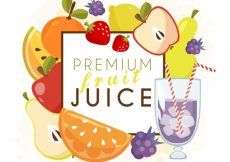 Free vector Premium fruit and juice background #2217
